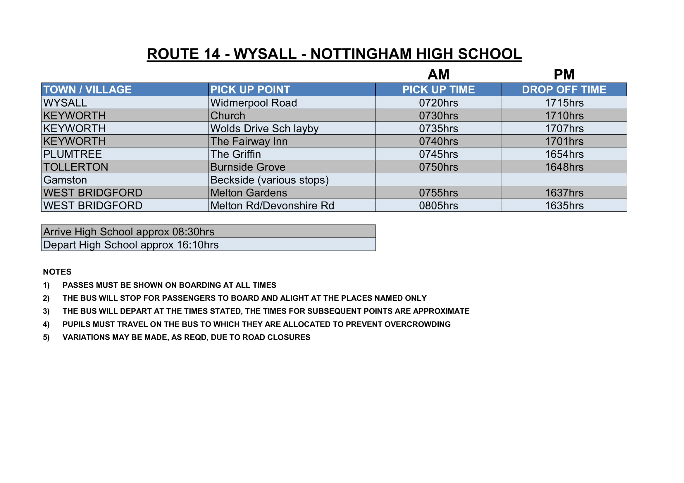 Sharpes of Nottingham Timetable
